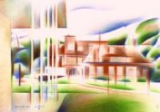 cubistic mansion colored pencil drawing thumbnail