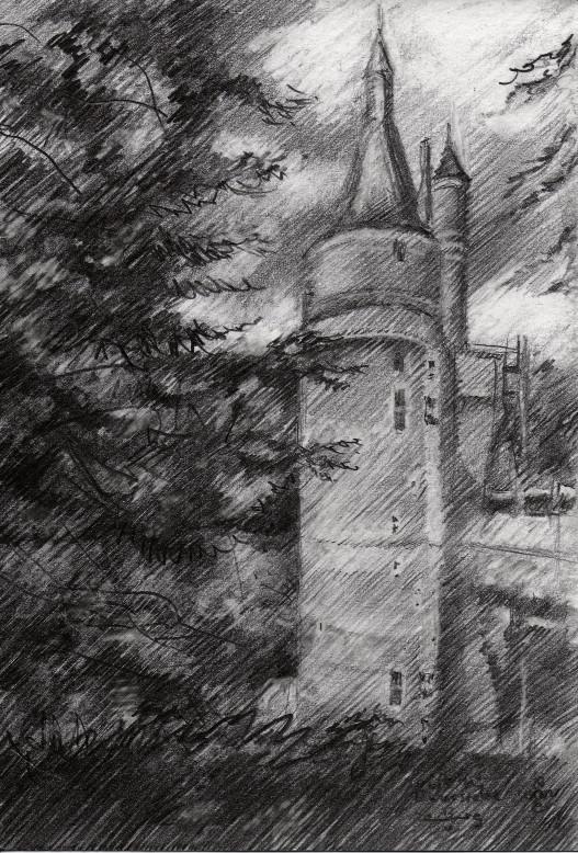 impressionistic castle graphite pencil drawing