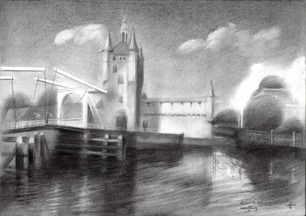 impressionistic cityscape graphite pencil drawing
