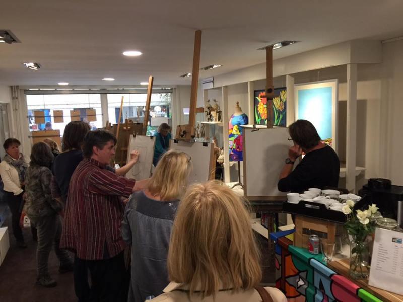 Corne Akkers teaching portrait drawing at Brugman Art