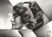 Cubistic portrait graphite pencil drawing thumbnail of Lily Elsie