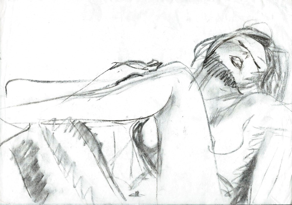 Impressionistic nude charcoal sketch thumbnail