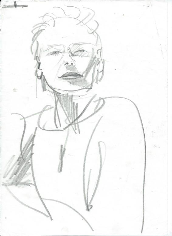 Impressionistic portrait graphite pencil sketch