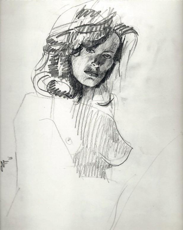 Realistic graphite pencil nude sketch