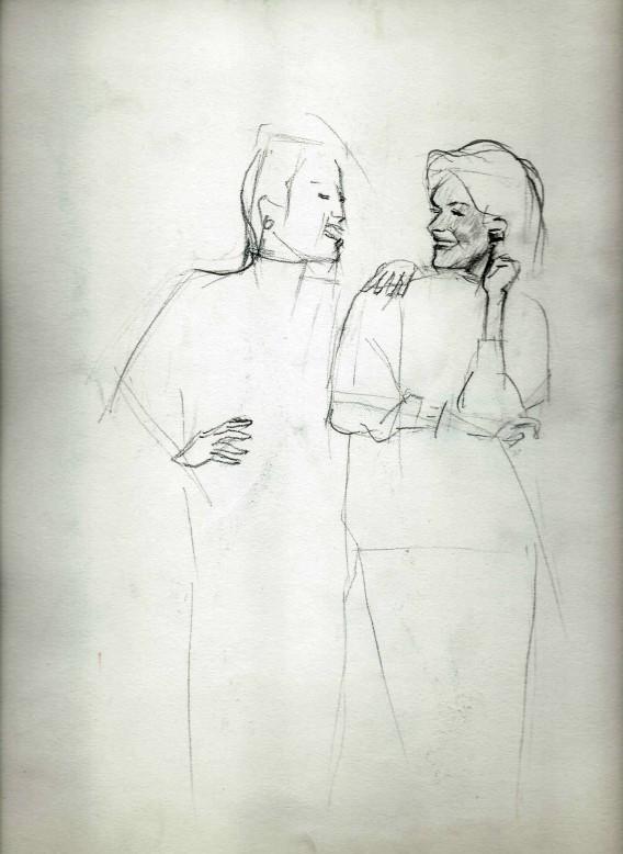Realistic women graphite pencil sketch