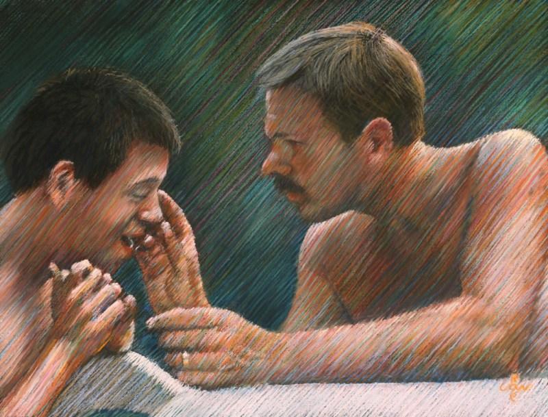 realistic portrait pastel drawing