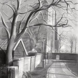 cubist cityscape graphite pencil drawing