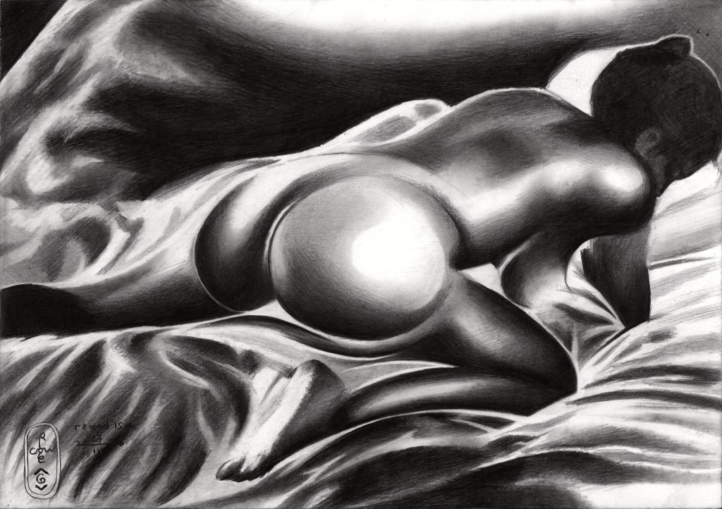 cubistic nude graphite pencil drawing with solarisation
