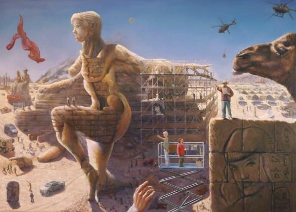 surrealist landscape oil painting by Corne Akkers