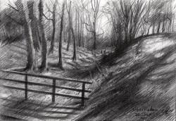 impressionist landscape graphite pencil drawing thumbnail