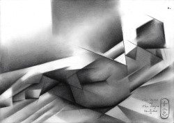 Cubist nude graphite pencil drawing thumbnail