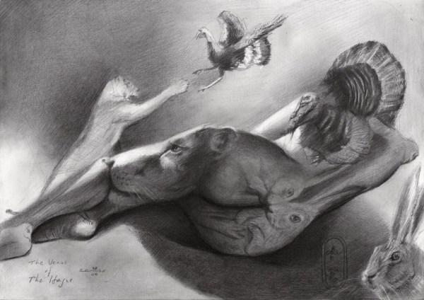 Surrealistic nude graphite pencil drawingSurrealistic nude graphite pencil drawing