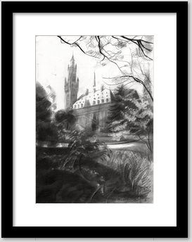 cubistic urban graphite pencil drawing framing example