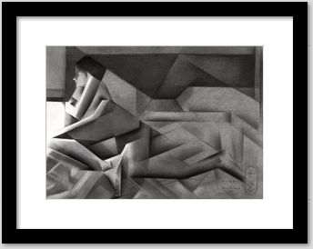 cubistic nude graphite pencil drawing framing example