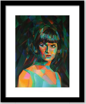 cubistic portrait oil painting of Louise Brooks framing example