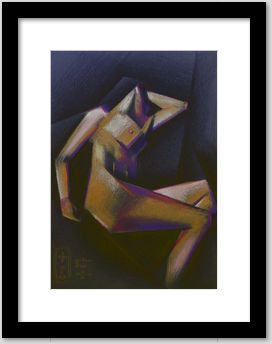 framing example of a cubistic nude colored pencil drawing