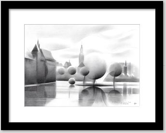framing example of a cubistic cityscape graphite pencil drawing