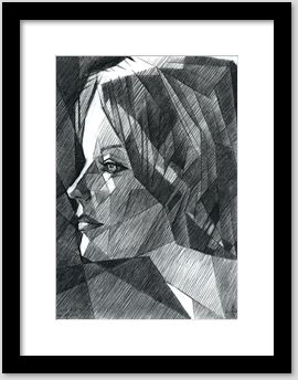 framing exmaple of a cubistic graphite pencil portrait drawing of Romy Schneider