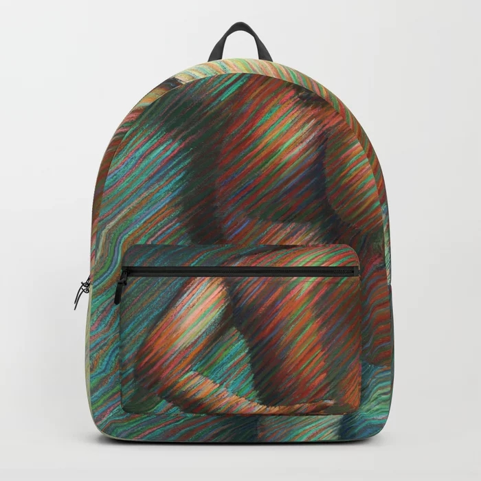 cubistic nude pastel drawing backpack mockup
