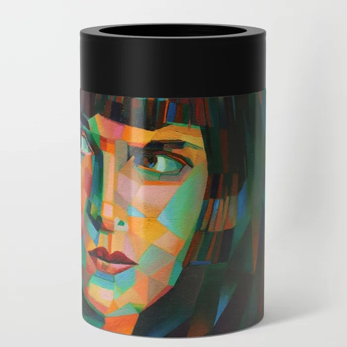 cubistic louise brooks oil painting can cooler mockup