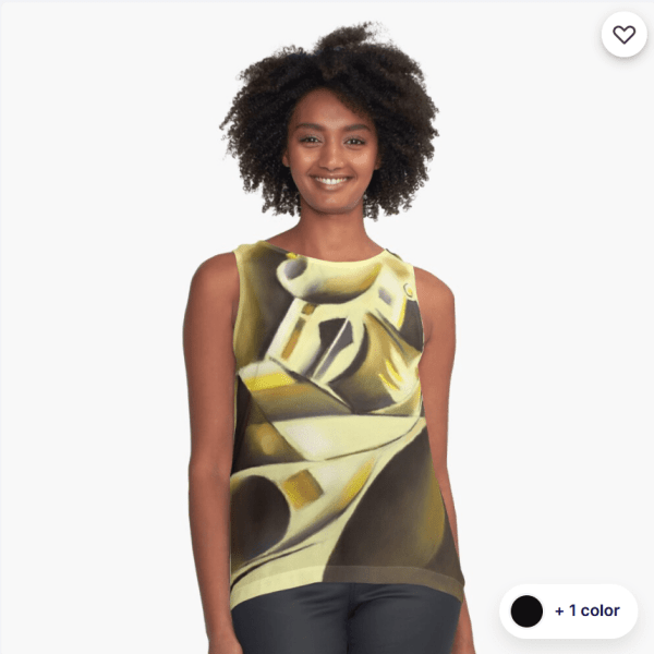 cubist nude pastel drawing sleeveless top mockup