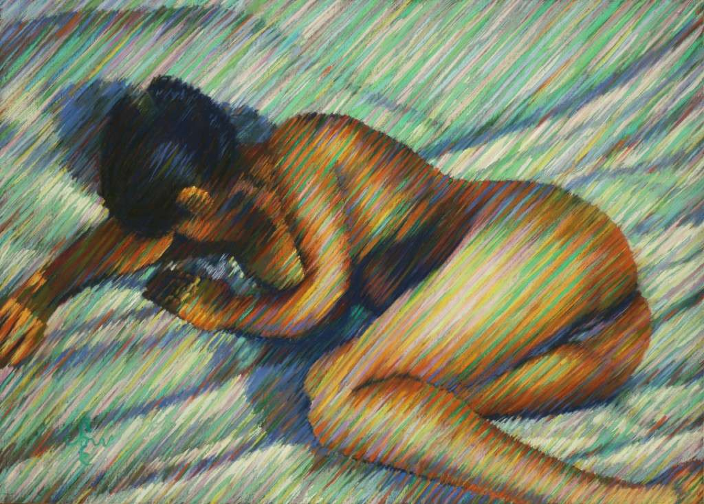 impressionist nude pastel drawing