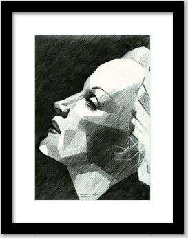 cubist portrait graphite pencil drawing framing example