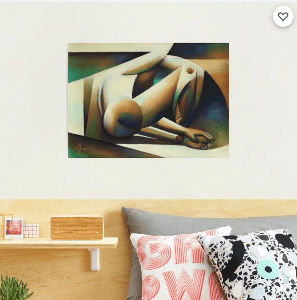 cubist nude pastel drawing photographic print mockup