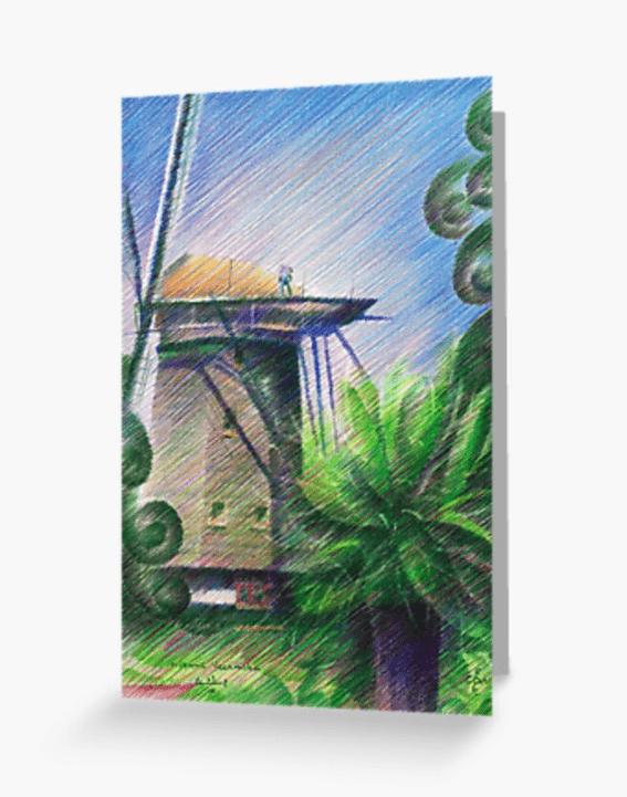 cubist landscape colored pencil greeting card mockup
