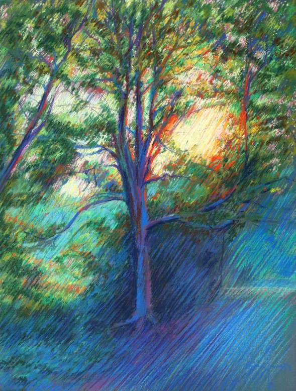 impressionist treescape pastel drawing