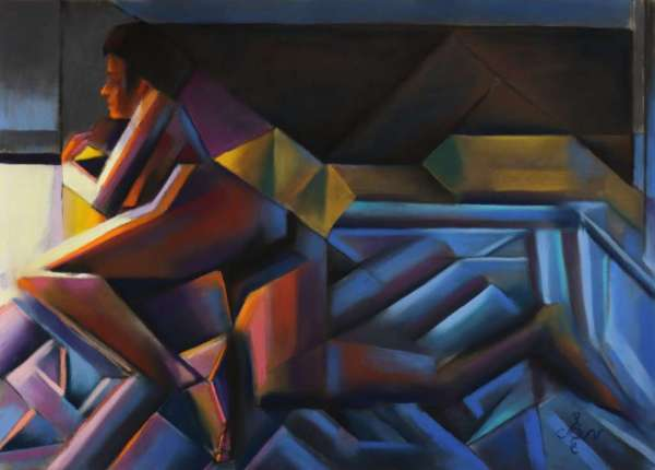 cubist nude pastel drawing
