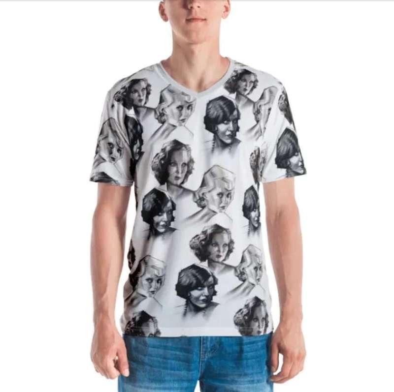 cubist portrait graphite pencil drawing clothing mockup