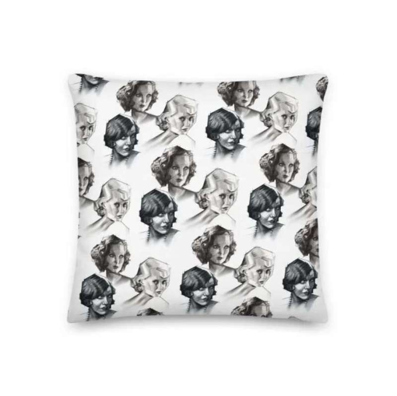 cubist portrait graphite pencil drawing pillow mockup