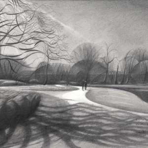 cubist landscape graphite pencil drawing