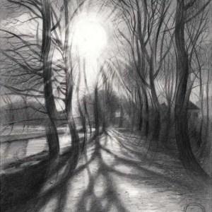cubist treescape graphite pencil drawing