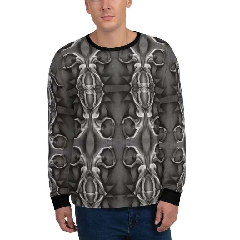 cubist nude graphite pencil drawing men's sweater mockup