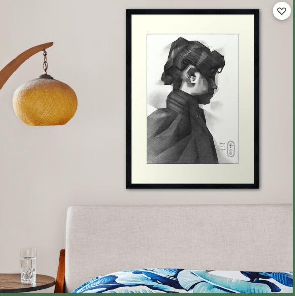 cubist portrait graphite pencil drawing framed print mockup