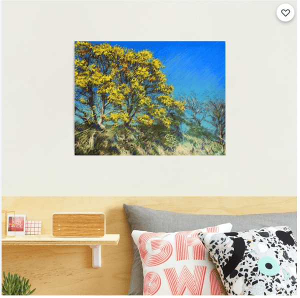impressionistic treescape pastel drawing photographic print mockup