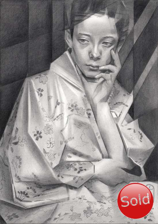 cubistic portrait graphite pencil drawing promotion