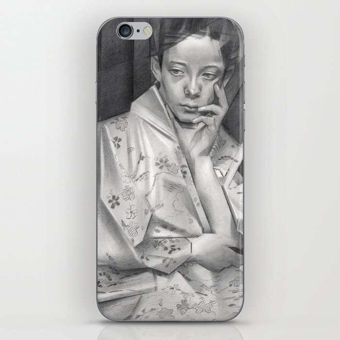 cubist portrait graphite pencil drawing phone skin mockup