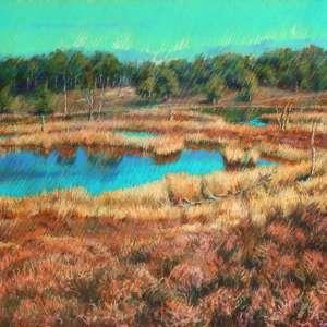 impressionist landscape pastel drawing