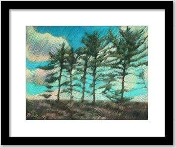 impressionist treescape pastel drawing framing example