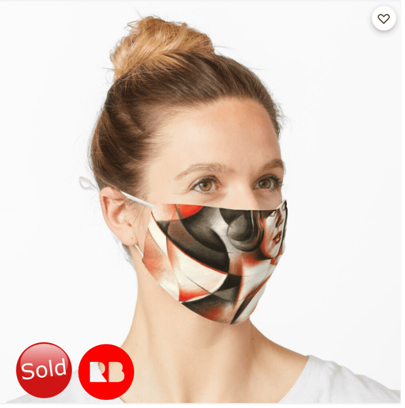 cubist portrait colored and graphite pencil drawing mask mockup promotion