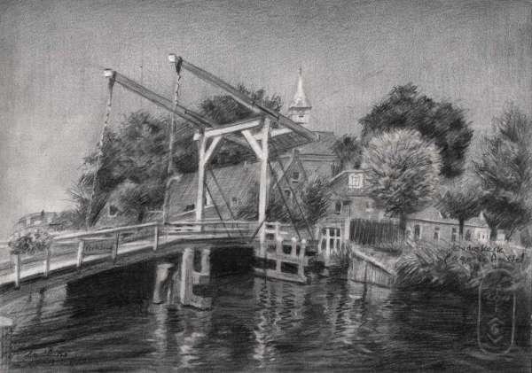 impressionist landscape graphite pencil drawing