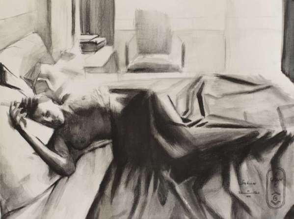 cubist nude art graf pencil drawing
