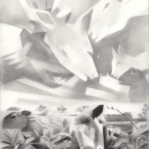 cubist sheep graphite pencil drawing