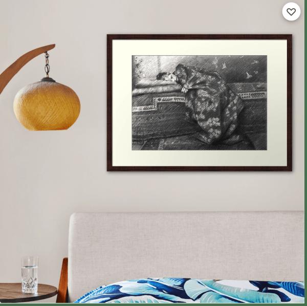 impressionist girl graphite pencil drawing framed art print mockup