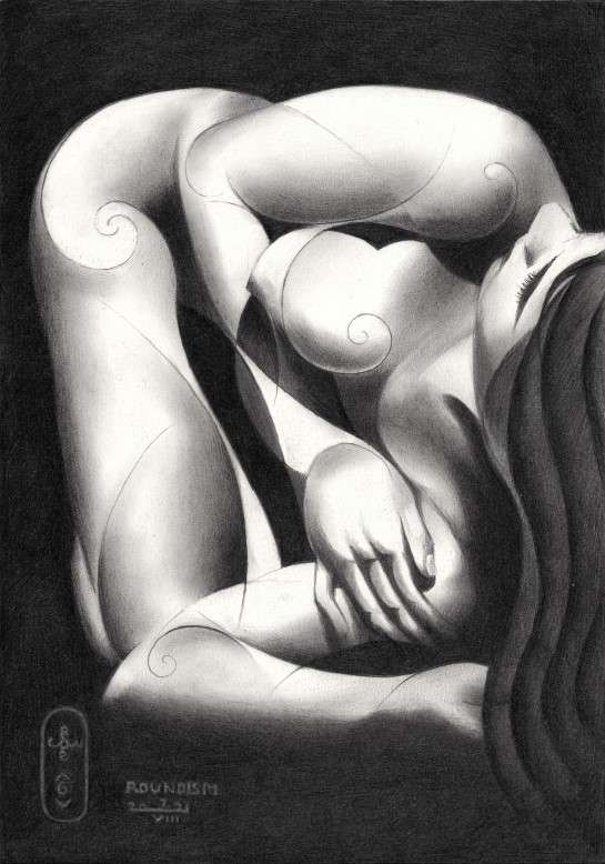 cubist nude graphte pencil drawing