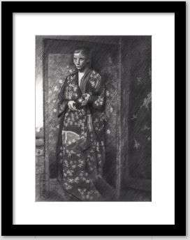 cubist girl graphite pencil drawing framed example