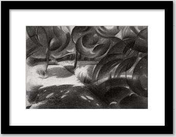 cubist treescape graphite pencil drawing framing example